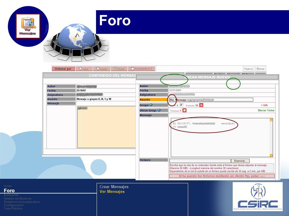 www.company.com Responder al mensaje. Inicio Foro Evaluación Gestion de Alumnos Directorio de la asignatura Configuración Caso Práctico Crear Mensajes