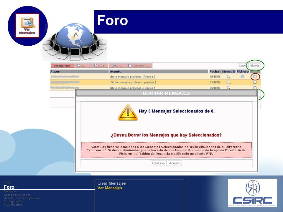 www.company.com Inicio Foro Evaluación Gestion de Alumnos Directorio de la asignatura Configuración Caso Práctico Crear Mensajes Ver Mensajes Foro
