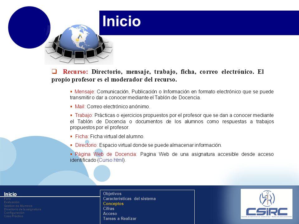 www.company.com Inicio Recurso: Directorio, mensaje, trabajo, ficha, correo electrónico. El propio profesor es el moderador del recurso. Mensaje: Comu