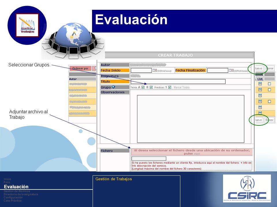 www.company.com Adjuntar archivo al Trabajo Seleccionar Grupos. Inicio Foro Evaluación Gestion de Alumnos Directorio de la asignatura Configuración Ca