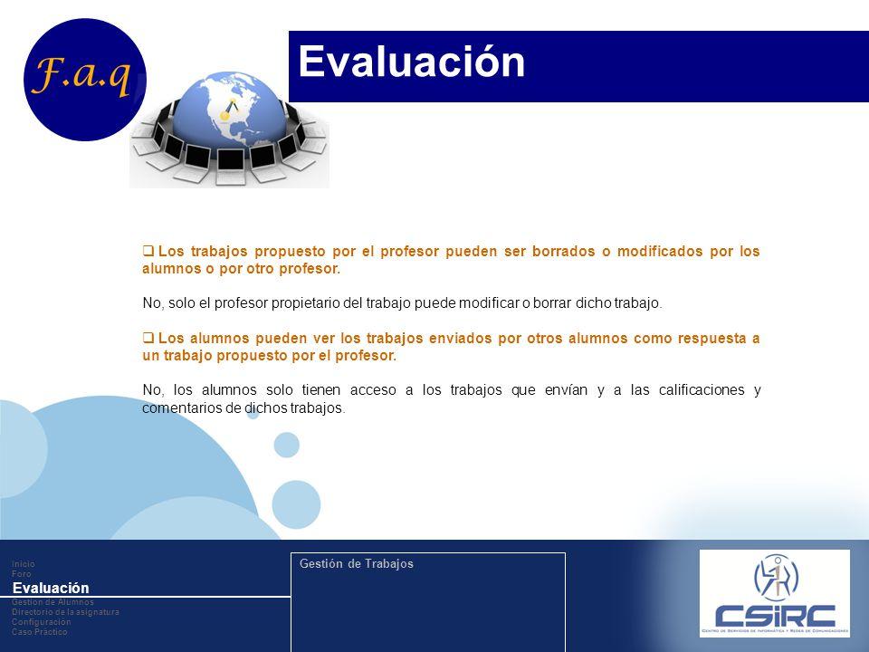 www.company.com Inicio Foro Evaluación Gestion de Alumnos Directorio de la asignatura Configuración Caso Práctico Gestión de Trabajos Los trabajos pro