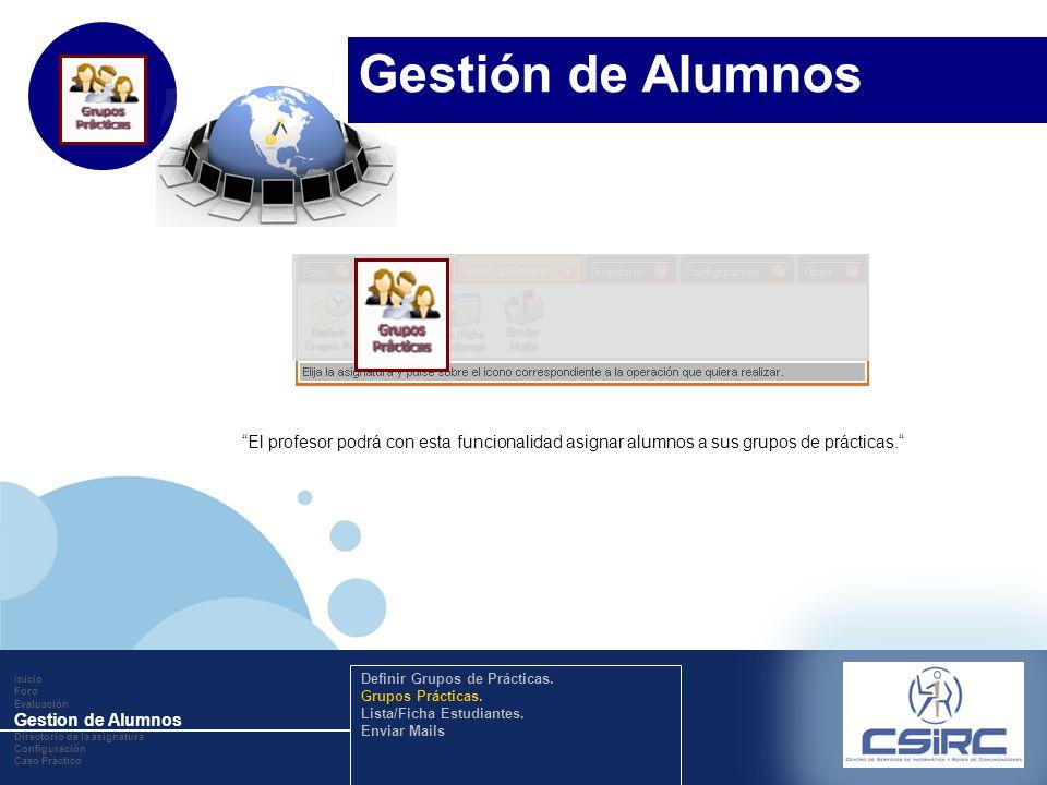www.company.com El profesor podrá con esta funcionalidad asignar alumnos a sus grupos de prácticas. Inicio Foro Evaluación Gestion de Alumnos Director