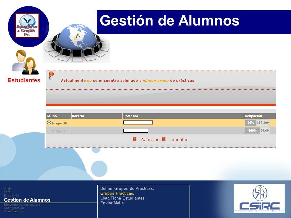 www.company.com Estudiantes Inicio Foro Evaluación Gestion de Alumnos Directorio de la asignatura Configuración Caso Práctico Definir Grupos de Prácti