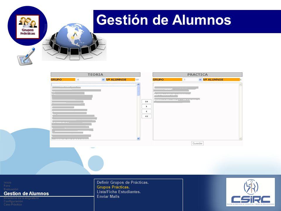 www.company.com Inicio Foro Evaluación Gestion de Alumnos Directorio de la asignatura Configuración Caso Práctico Definir Grupos de Prácticas. Grupos