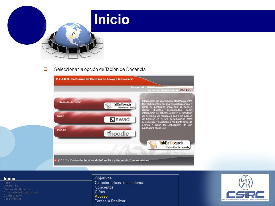 www.company.com Inicio Seleccionar la opción de Tablón de Docencia Inicio Foro Evaluación Gestion de Alumnos Directorio de la asignatura Configuración