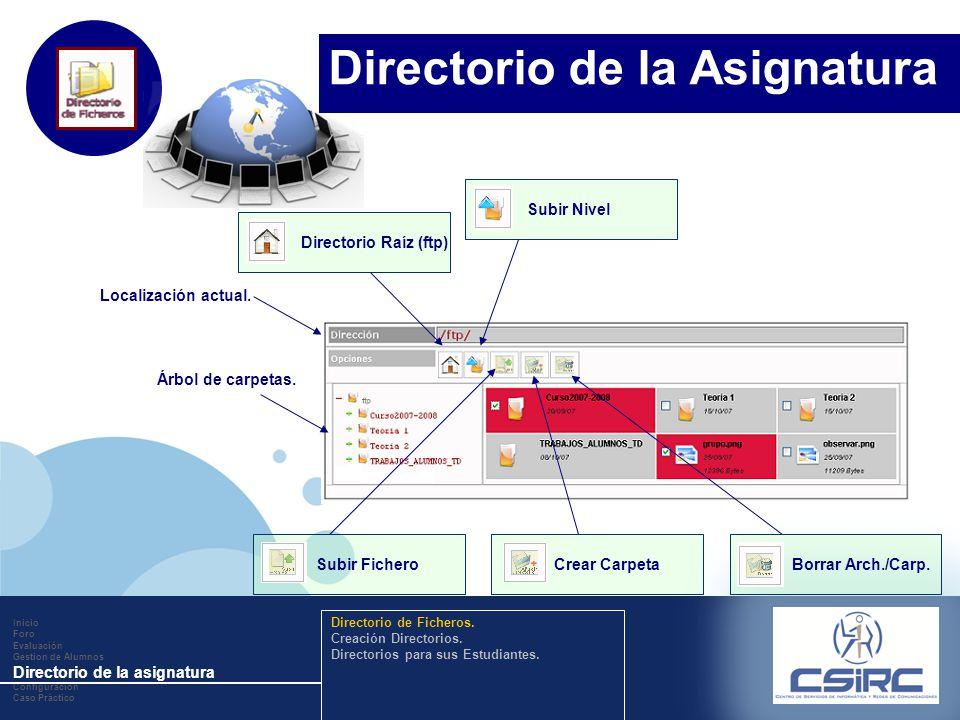 www.company.com Localización actual. Árbol de carpetas. Directorio Raíz (ftp)Subir NivelSubir FicheroCrear CarpetaBorrar Arch./Carp. Inicio Foro Evalu