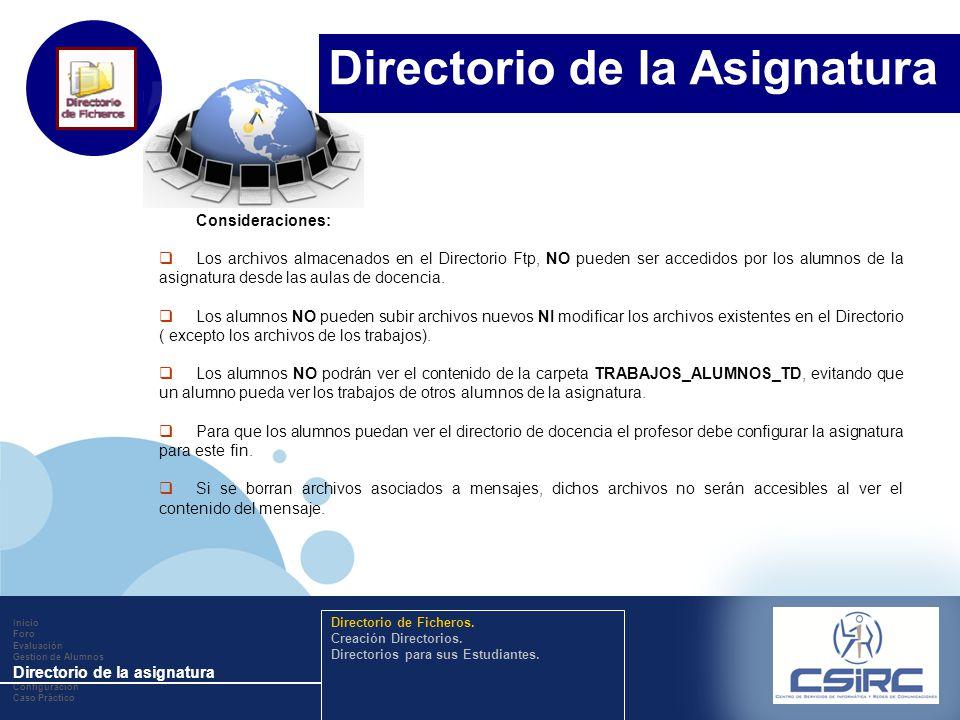 www.company.com Consideraciones: Los archivos almacenados en el Directorio Ftp, NO pueden ser accedidos por los alumnos de la asignatura desde las aulas de docencia.