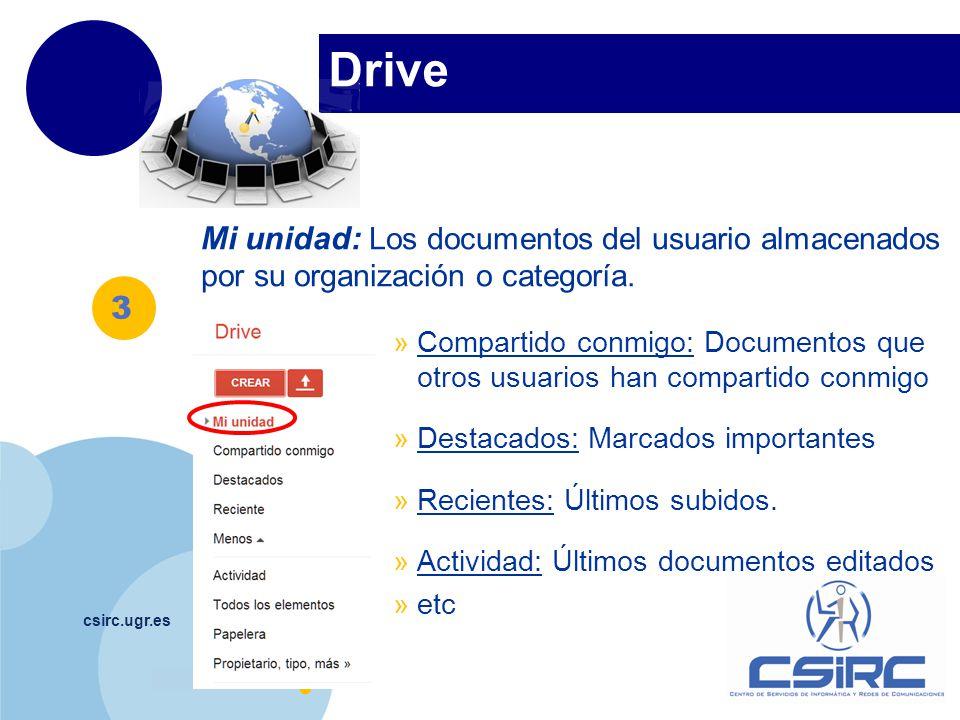 www.company.com Drive csirc.ugr.es Mi unidad: Los documentos del usuario almacenados por su organización o categoría. »Compartido conmigo: Documentos