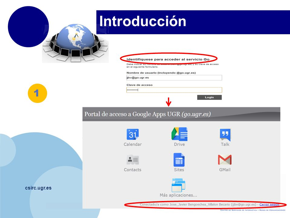 www.company.com Gmail csirc.ugr.es Bandeja de entrada Emails recibidos.