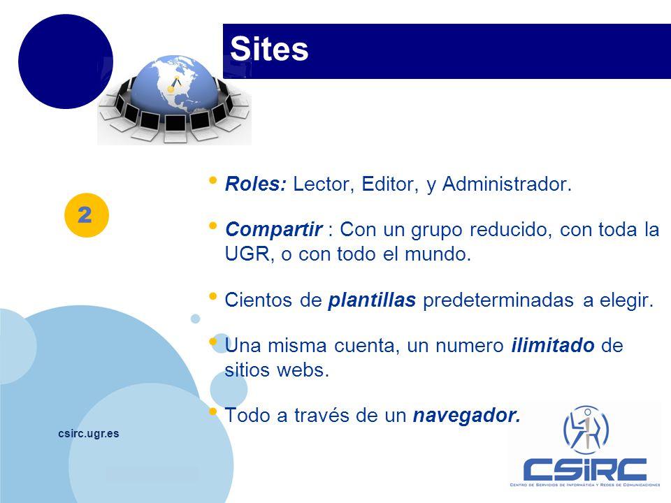 www.company.com Sites csirc.ugr.es Roles: Lector, Editor, y Administrador. Compartir : Con un grupo reducido, con toda la UGR, o con todo el mundo. Ci
