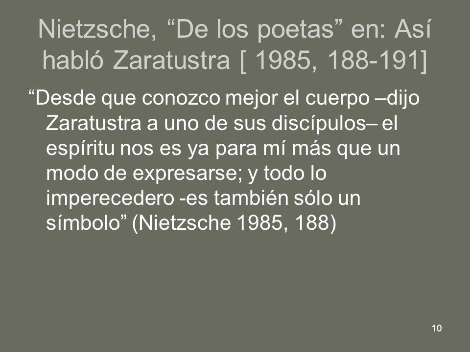 10 Nietzsche, De los poetas en: Así habló Zaratustra [ 1985, 188-191] Desde que conozco mejor el cuerpo –dijo Zaratustra a uno de sus discípulos– el espíritu nos es ya para mí más que un modo de expresarse; y todo lo imperecedero -es también sólo un símbolo (Nietzsche 1985, 188)