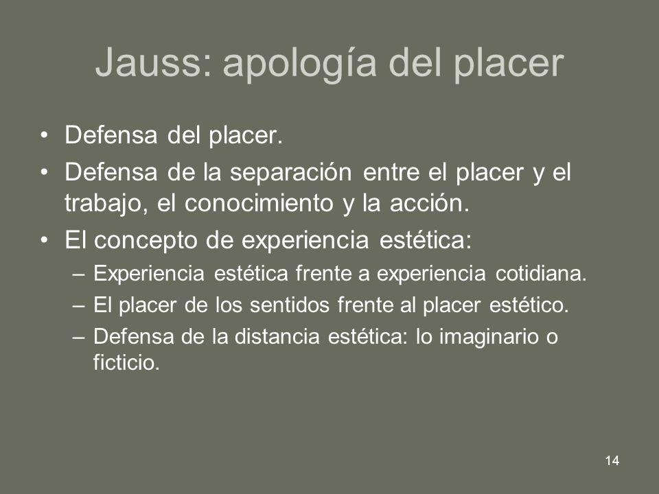 14 Jauss: apología del placer Defensa del placer. Defensa de la separación entre el placer y el trabajo, el conocimiento y la acción. El concepto de e