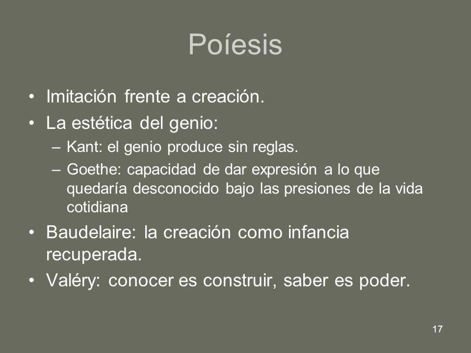 17 Poíesis Imitación frente a creación. La estética del genio: –Kant: el genio produce sin reglas. –Goethe: capacidad de dar expresión a lo que quedar