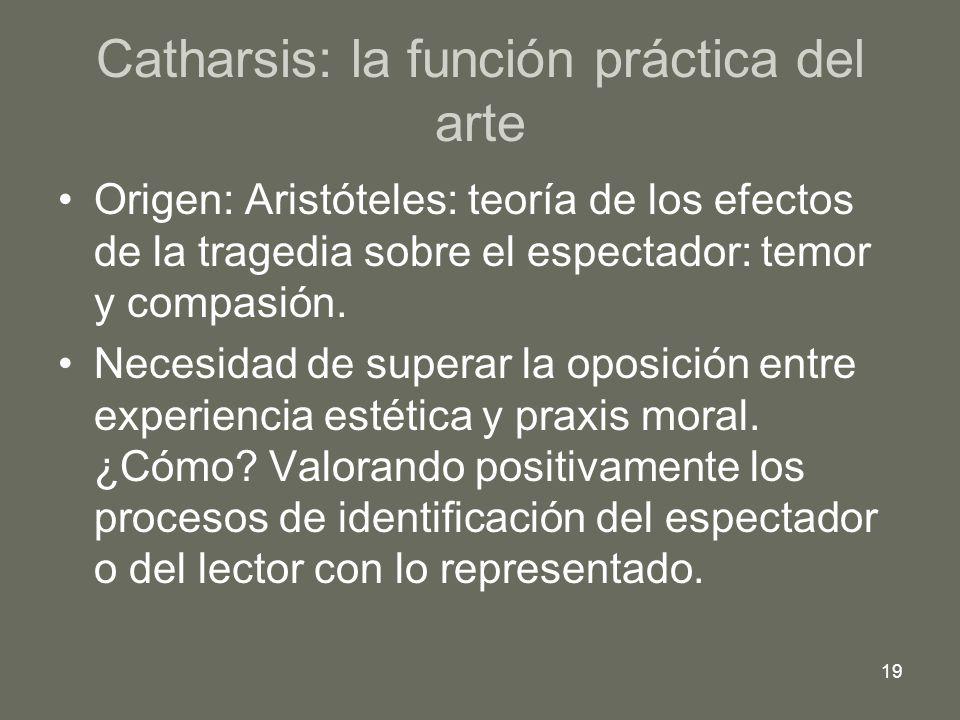 19 Catharsis: la función práctica del arte Origen: Aristóteles: teoría de los efectos de la tragedia sobre el espectador: temor y compasión. Necesidad