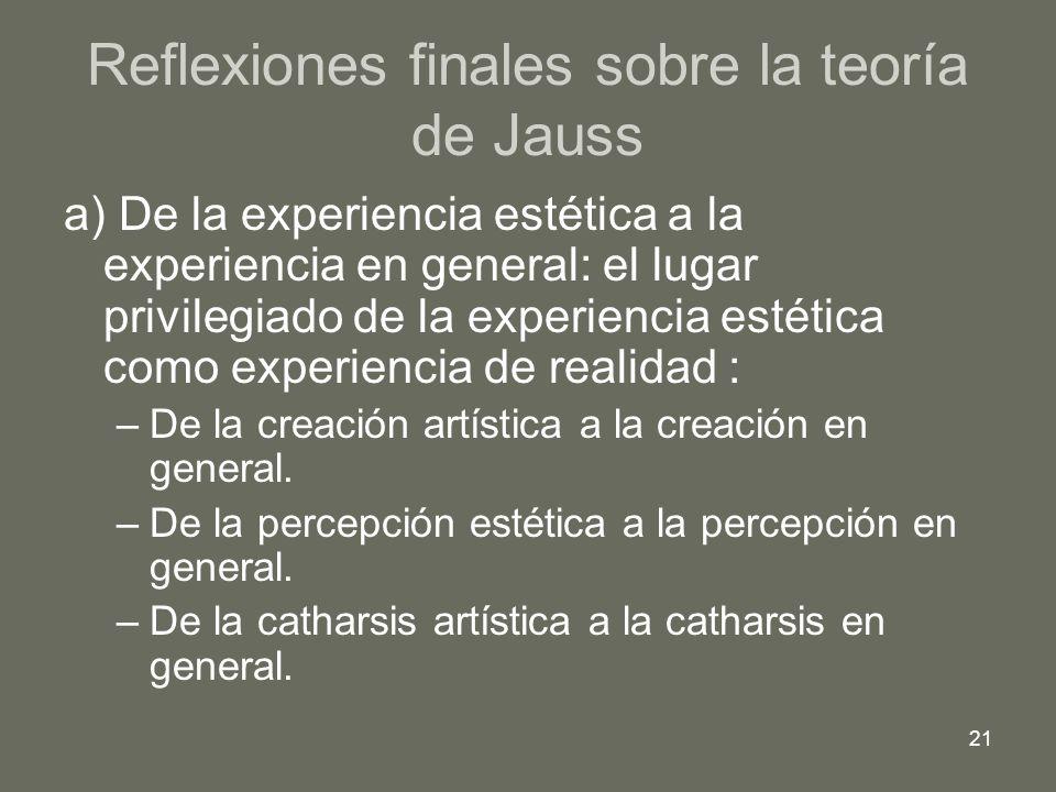 21 Reflexiones finales sobre la teoría de Jauss a) De la experiencia estética a la experiencia en general: el lugar privilegiado de la experiencia est