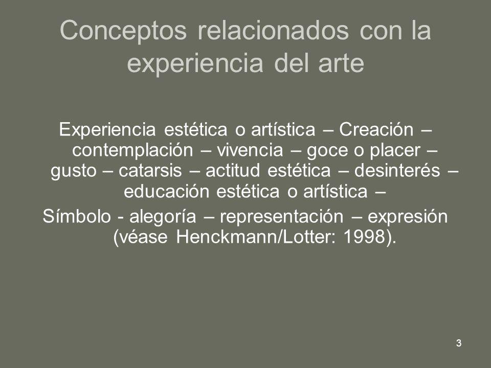 3 Conceptos relacionados con la experiencia del arte Experiencia estética o artística – Creación – contemplación – vivencia – goce o placer – gusto –
