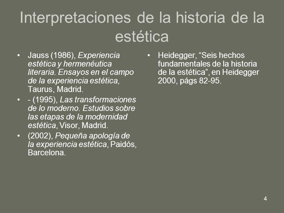 4 Interpretaciones de la historia de la estética Jauss (1986), Experiencia estética y hermenéutica literaria. Ensayos en el campo de la experiencia es