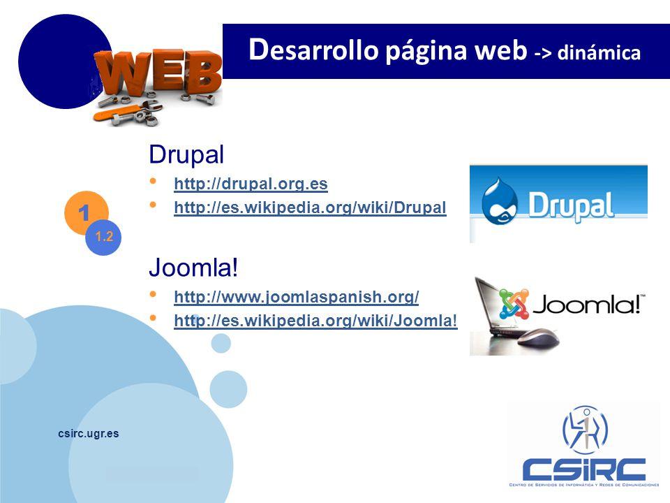 www.company.com csirc.ugr.es Drupal http://drupal.org.es http://es.wikipedia.org/wiki/Drupal 1 1.2 Joomla.