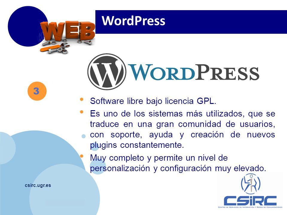 www.company.com csirc.ugr.es 3 WordPress Software libre bajo licencia GPL.