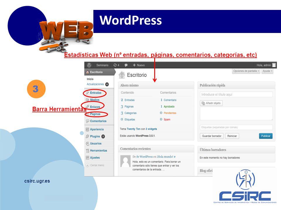 www.company.com csirc.ugr.es Barra Herramientas Estadísticas Web (nº entradas, páginas, comentarios, categorías, etc) WordPress 3
