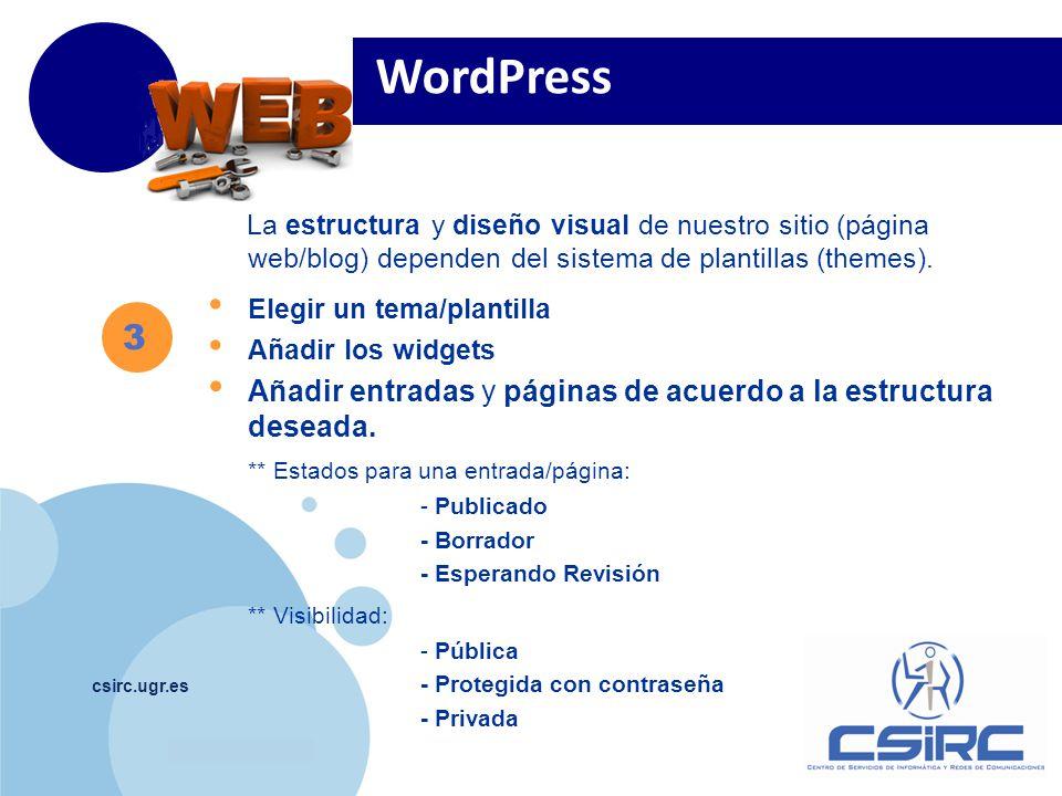 www.company.com csirc.ugr.es La estructura y diseño visual de nuestro sitio (página web/blog) dependen del sistema de plantillas (themes).