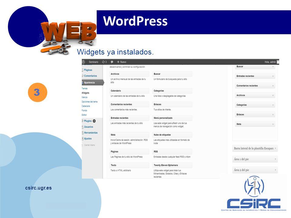 www.company.com csirc.ugr.es Widgets ya instalados. WordPress 3
