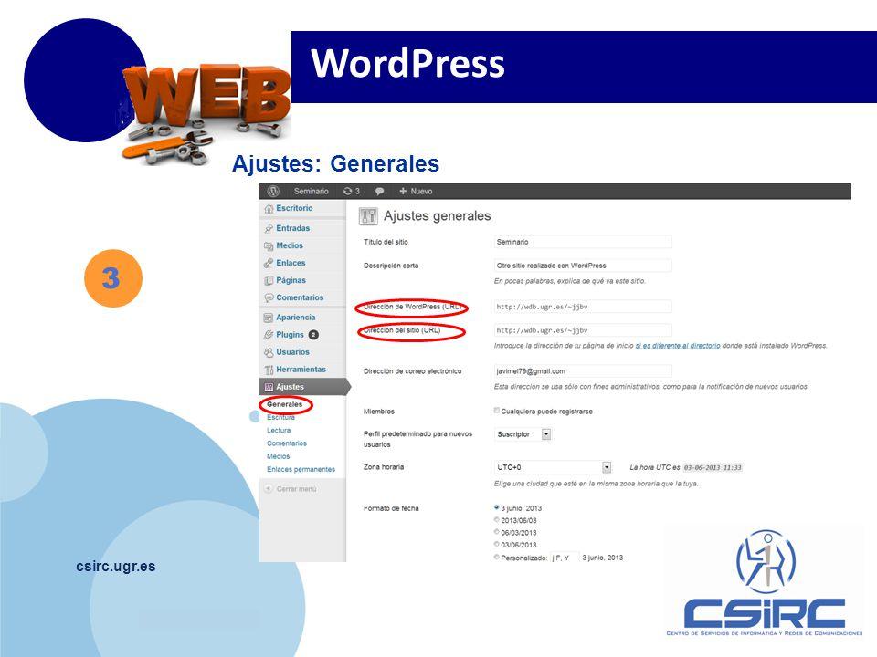 www.company.com csirc.ugr.es Ajustes: Generales WordPress 3