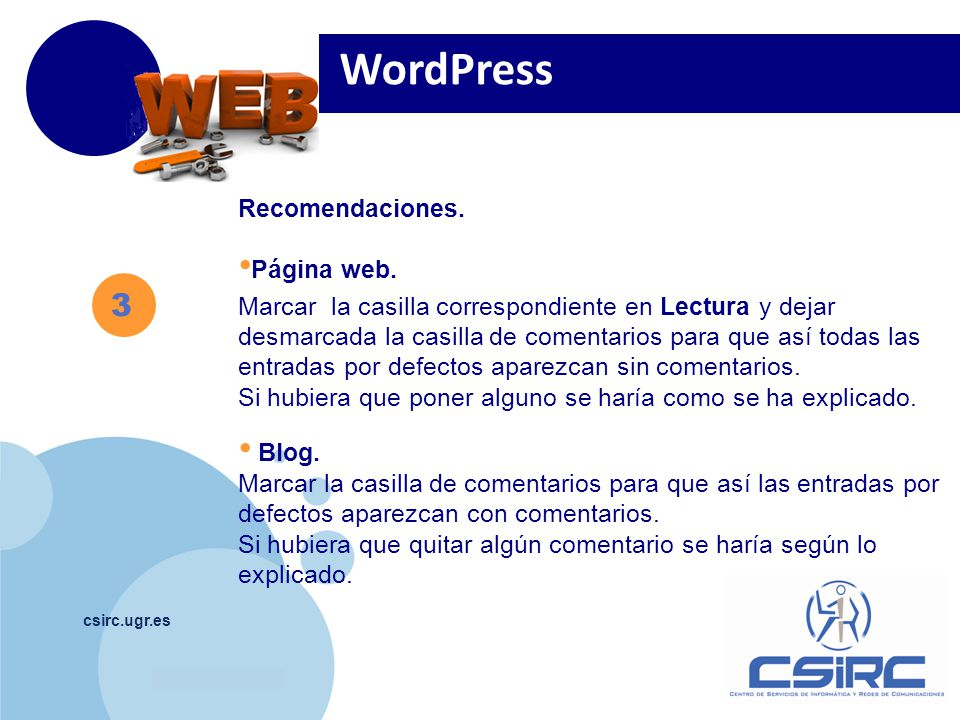 www.company.com csirc.ugr.es Recomendaciones. Página web.