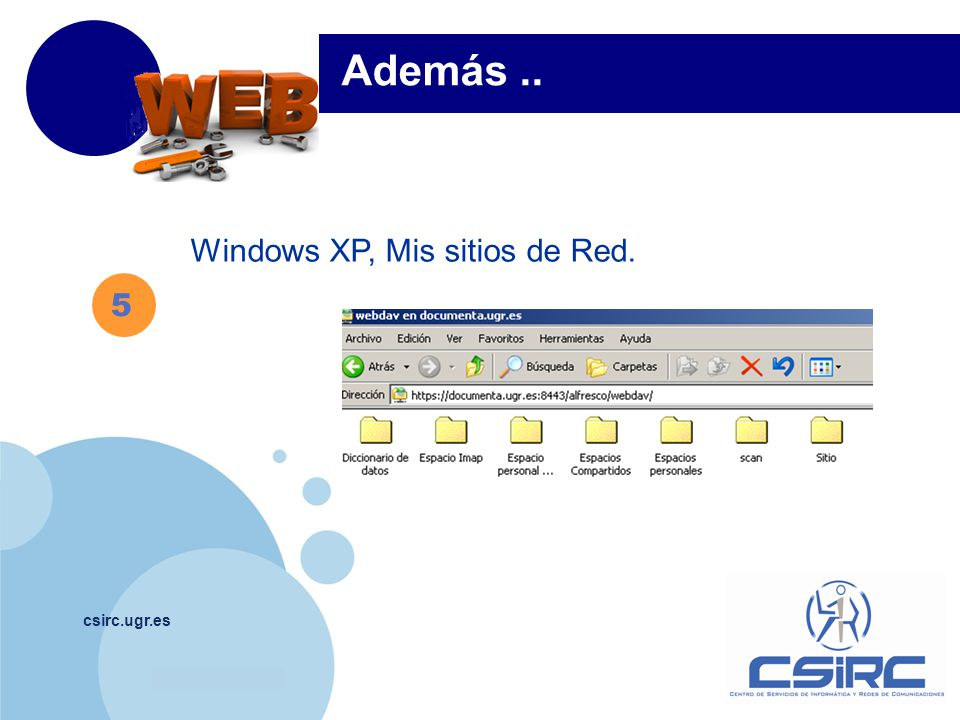 www.company.com csirc.ugr.es Windows XP, Mis sitios de Red. Además.. 5