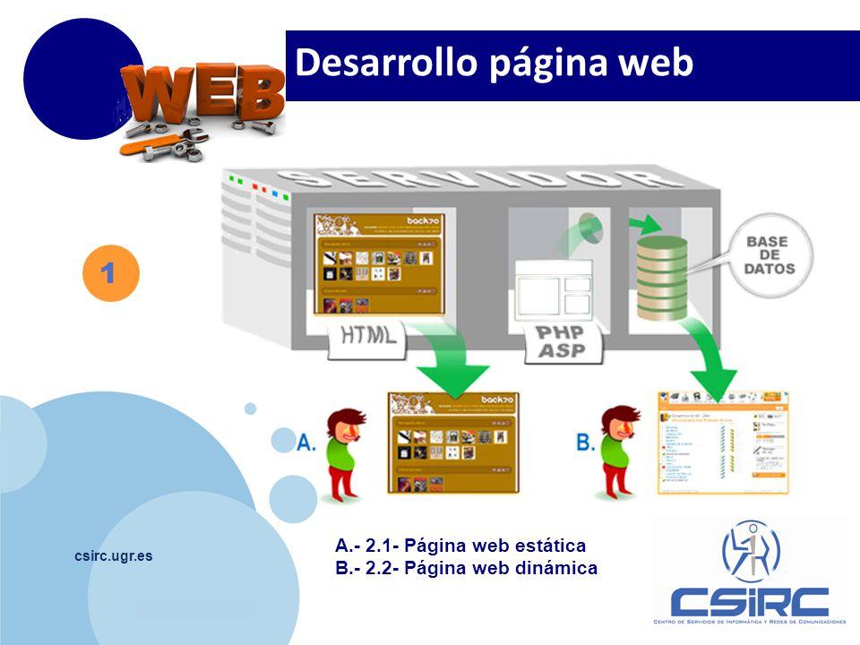www.company.com csirc.ugr.es 1 A.- 2.1- Página web estática B.- 2.2- Página web dinámica Desarrollo página web