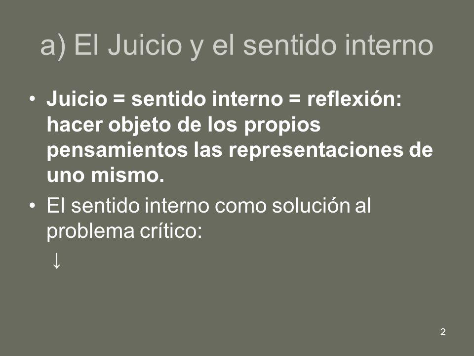 2 a) El Juicio y el sentido interno Juicio = sentido interno = reflexión: hacer objeto de los propios pensamientos las representaciones de uno mismo.