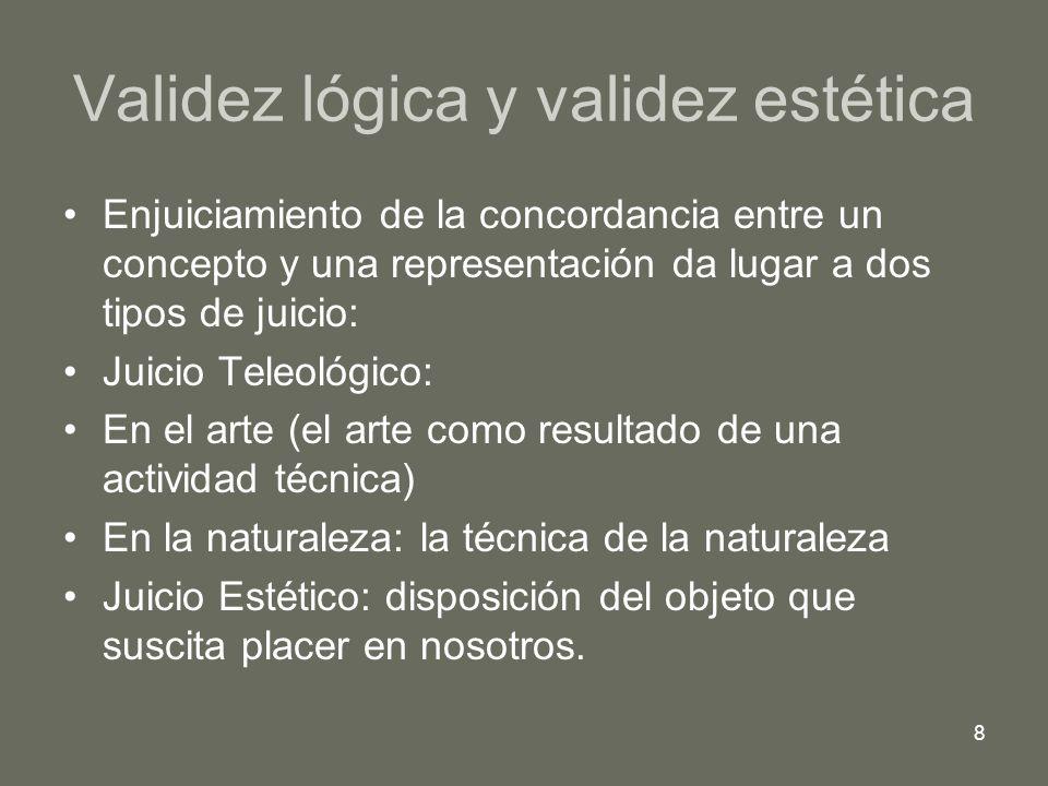 8 Validez lógica y validez estética Enjuiciamiento de la concordancia entre un concepto y una representación da lugar a dos tipos de juicio: Juicio Te