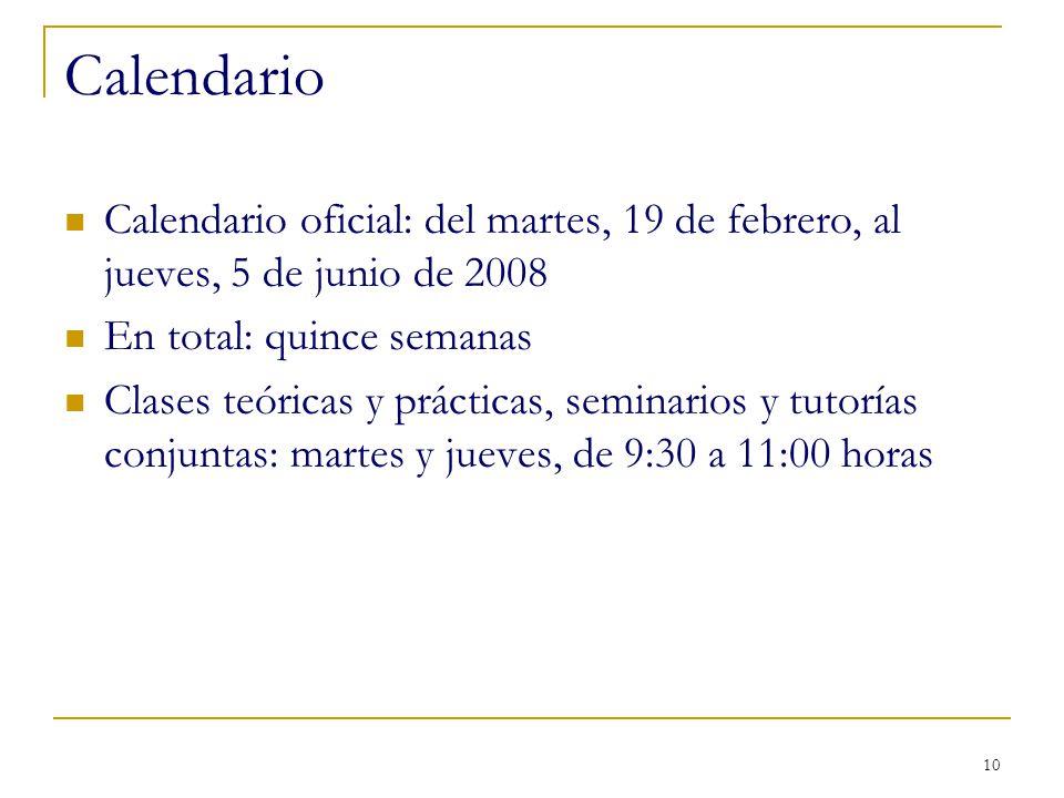 10 Calendario Calendario oficial: del martes, 19 de febrero, al jueves, 5 de junio de 2008 En total: quince semanas Clases teóricas y prácticas, semin