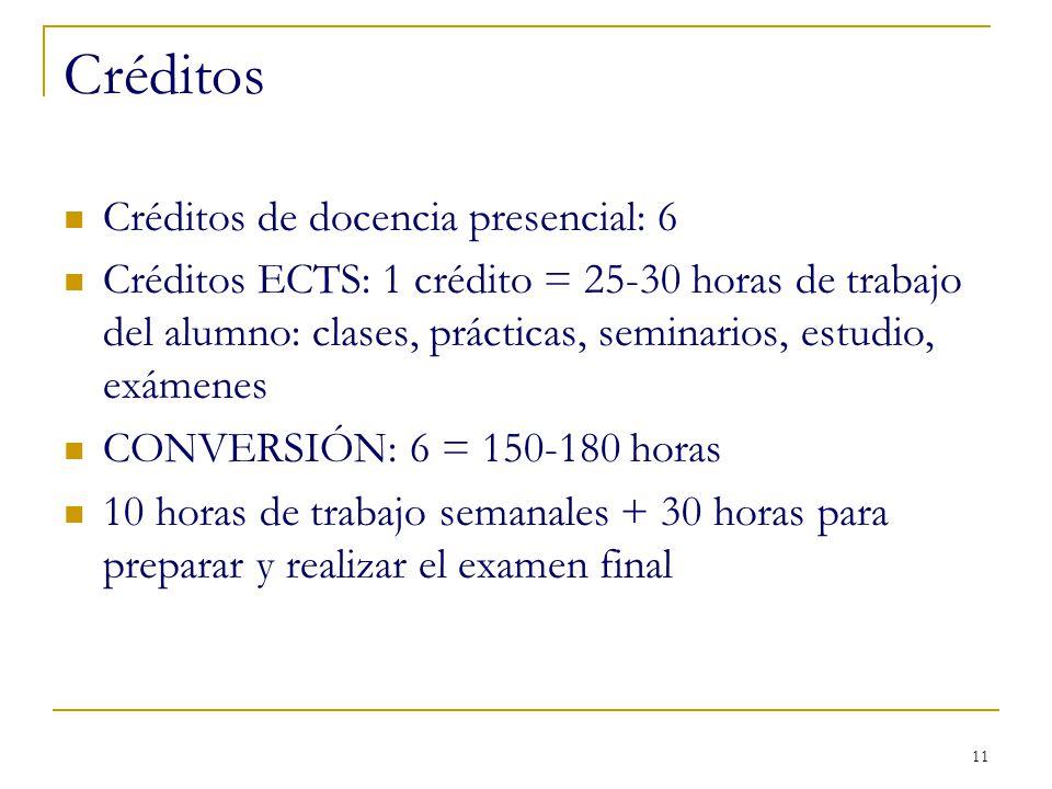 11 Créditos Créditos de docencia presencial: 6 Créditos ECTS: 1 crédito = 25-30 horas de trabajo del alumno: clases, prácticas, seminarios, estudio, e