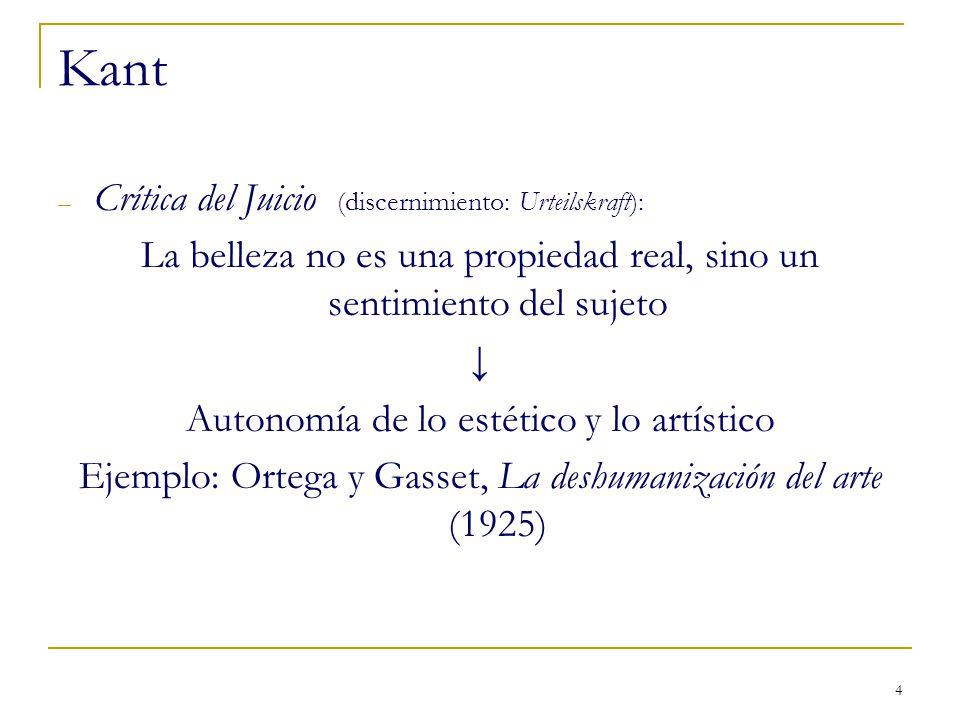 4 Kant – Crítica del Juicio (discernimiento: Urteilskraft): La belleza no es una propiedad real, sino un sentimiento del sujeto Autonomía de lo estéti