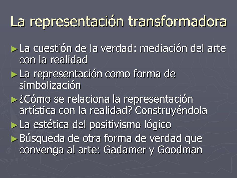 La representación transformadora La cuestión de la verdad: mediación del arte con la realidad La cuestión de la verdad: mediación del arte con la real