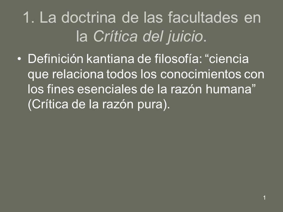 1 1. La doctrina de las facultades en la Crítica del juicio. Definición kantiana de filosofía: ciencia que relaciona todos los conocimientos con los f