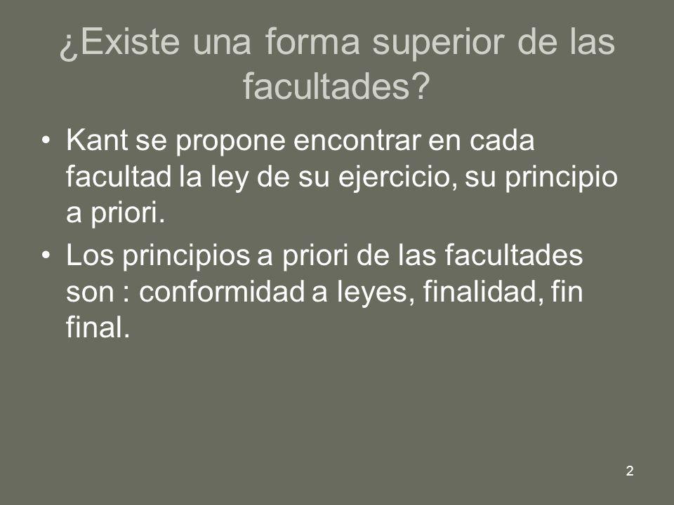 2 ¿Existe una forma superior de las facultades? Kant se propone encontrar en cada facultad la ley de su ejercicio, su principio a priori. Los principi