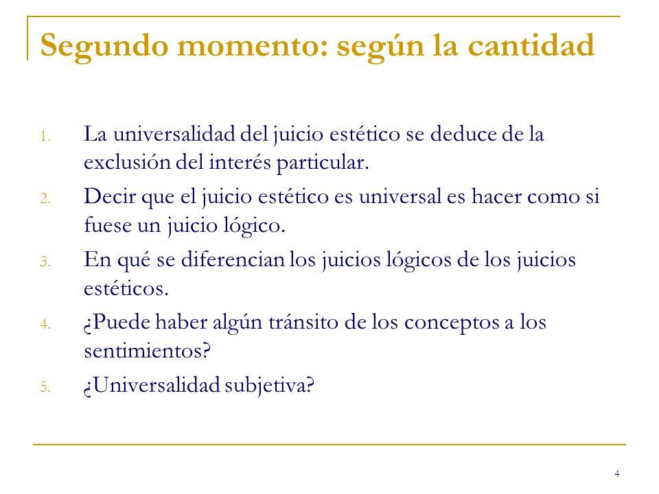 4 Segundo momento: según la cantidad 1. La universalidad del juicio estético se deduce de la exclusión del interés particular. 2. Decir que el juicio