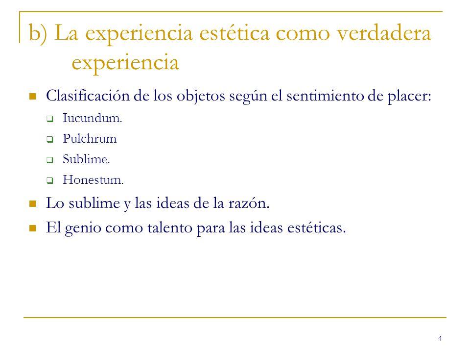 4 b) La experiencia estética como verdadera experiencia Clasificación de los objetos según el sentimiento de placer: Iucundum. Pulchrum Sublime. Hones