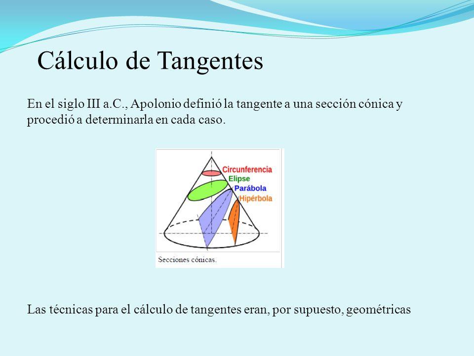 En el siglo III a.C., Apolonio definió la tangente a una sección cónica y procedió a determinarla en cada caso. Las técnicas para el cálculo de tangen