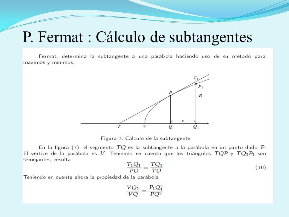 P. Fermat : Cálculo de subtangentes