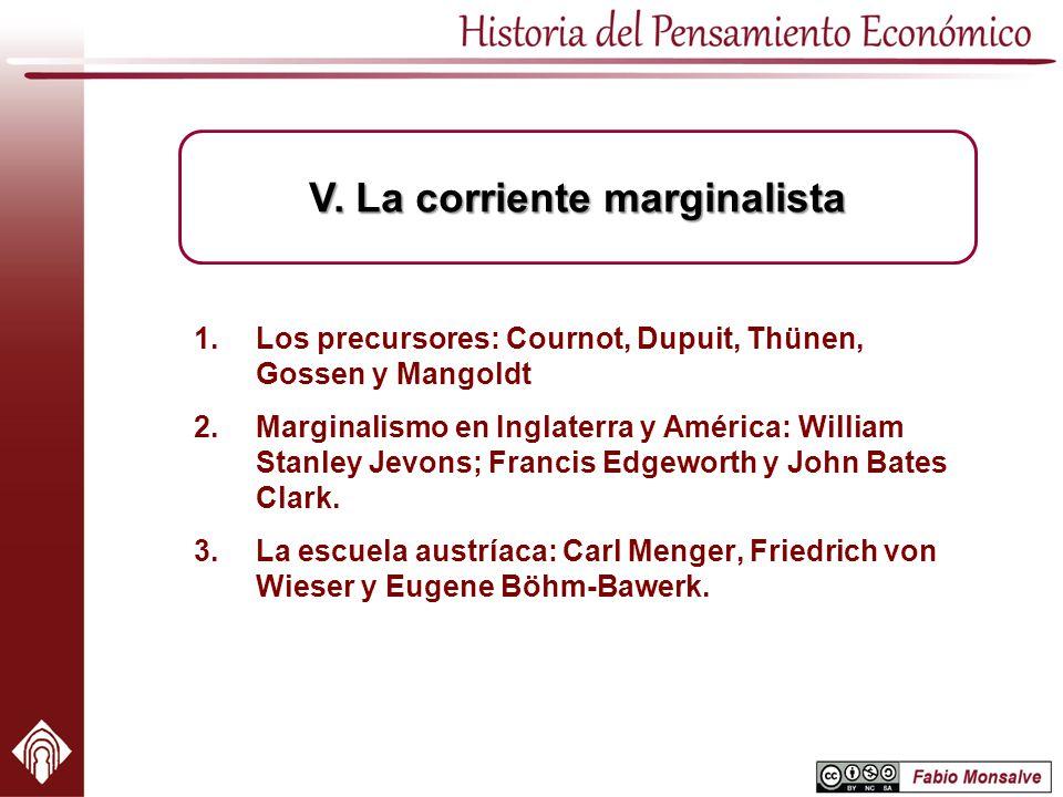 1.Los precursores: Cournot, Dupuit, Thünen, Gossen y Mangoldt 2.Marginalismo en Inglaterra y América: William Stanley Jevons; Francis Edgeworth y John
