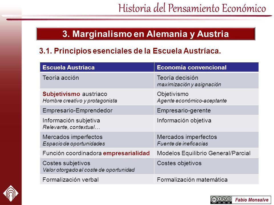 3. Marginalismo en Alemania y Austria 3.1. Principios esenciales de la Escuela Austríaca. Escuela AustriacaEconomía convencional Teoría acciónTeoría d