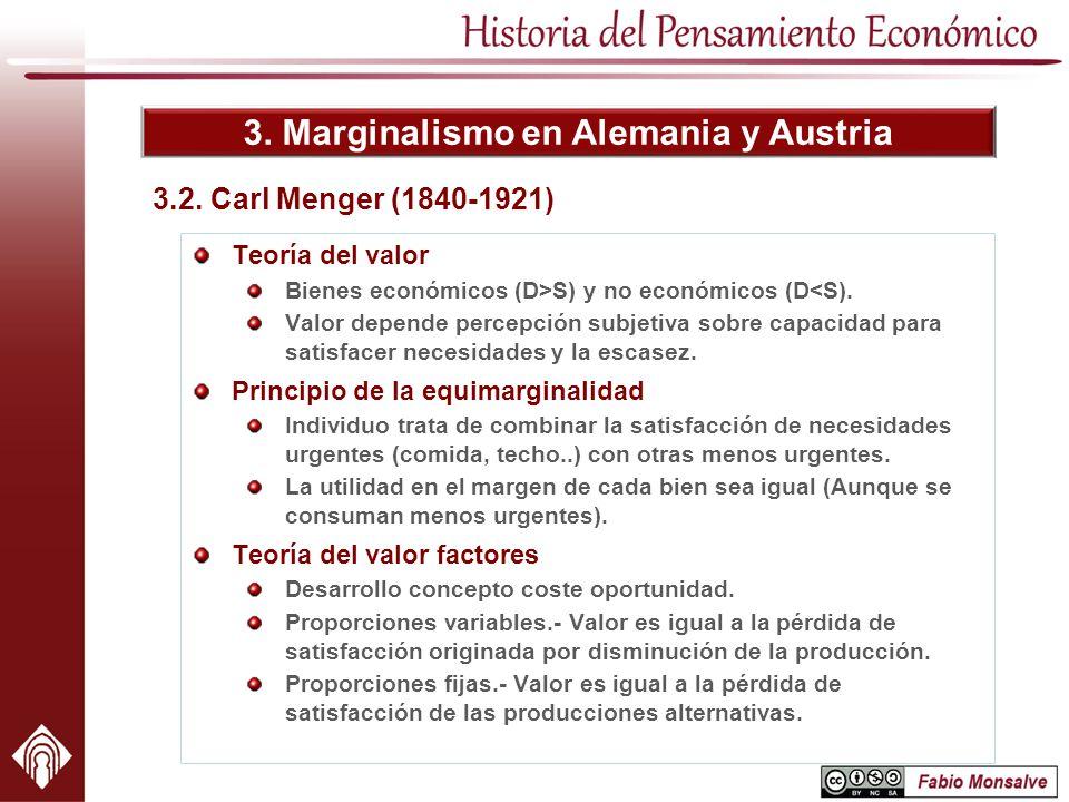3. Marginalismo en Alemania y Austria 3.2. Carl Menger (1840-1921) Teoría del valor Bienes económicos (D>S) y no económicos (D<S). Valor depende perce