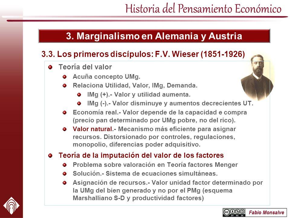 3. Marginalismo en Alemania y Austria 3.3. Los primeros discípulos: F.V. Wieser (1851-1926) Teoría del valor Acuña concepto UMg. Relaciona Utilidad, V