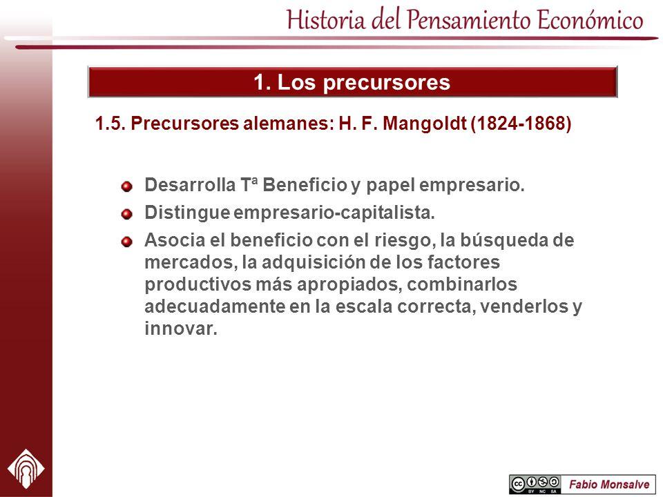 1. Los precursores 1.5. Precursores alemanes: H. F. Mangoldt (1824-1868) Desarrolla Tª Beneficio y papel empresario. Distingue empresario-capitalista.