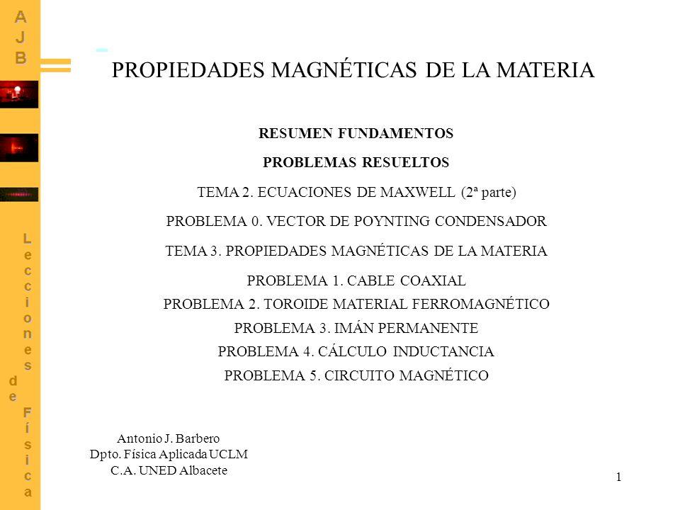 1 PROPIEDADES MAGNÉTICAS DE LA MATERIA Antonio J.Barbero Dpto.