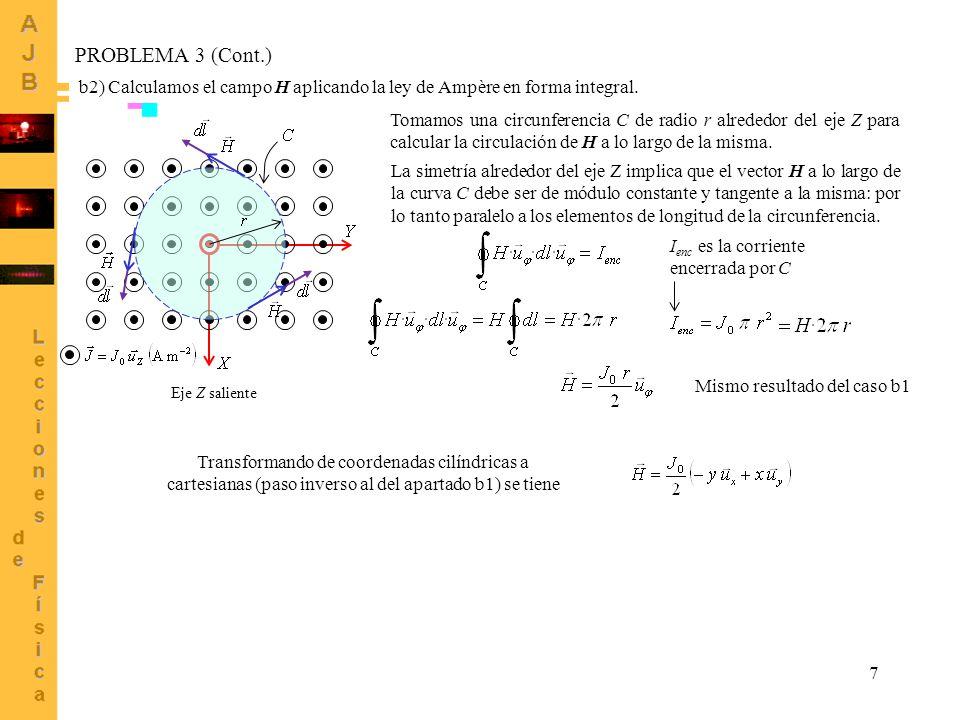 7 PROBLEMA 3 (Cont.) b2) Calculamos el campo H aplicando la ley de Ampère en forma integral. Eje Z saliente Tomamos una circunferencia C de radio r al