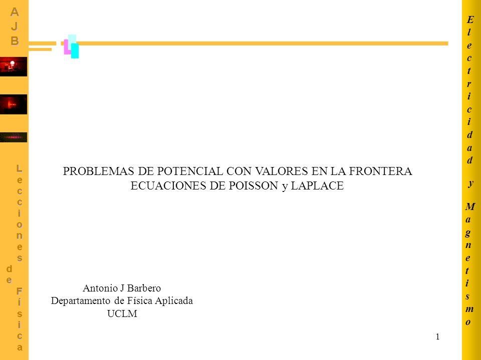 1 PROBLEMAS DE POTENCIAL CON VALORES EN LA FRONTERA ECUACIONES DE POISSON y LAPLACE MagnetismoMagnetismo ElectricidadElectricidad y Antonio J Barbero